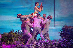 Dua Lipa on stage at the Brit Awards 2019 at the O2 Arena, London. Photo credit should read: Matt Crossick/EMPICS Entertainment. EDITORIAL USE ONLY