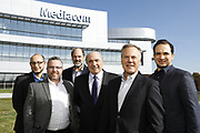 SHOT 10/31/18 11:35:38 AM - Mediacom Communications Corporation is a cable television and communications provider headquartered in Chester, New York. Founded in 1995 by Rocco B. Commisso, it serves primarily smaller rural markets in the Midwest and Southern United States. In the group photo Mediacom's Jack Griffin, Mark Stephan, Tom Larsen, Ruben Martino, Rocco Commisso and CoBank RM Gary Franke. (Photo by Marc Piscotty © 2018)