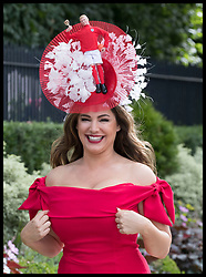 June 19, 2018 - Ascot, United Kingdom - Model KELLY BROCK wearing an England World Cup hat during on the opening day of Royal Ascot, United Kingdom. (Credit Image: © Stephen Lock/i-Images via ZUMA Press)