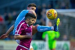 Forfar Athletic's Ross Meechan and Arbroath's Omar Kader. half time : Forfar Athletic 0 v 1 Arbroath, Scottish Football League Division One played 8/12/2018 at Forfar Athletic's home ground, Station Park, Forfar.