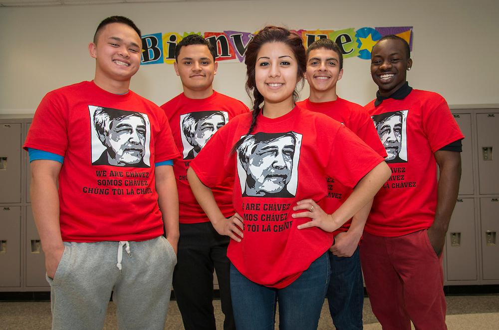 Chavez High School students wear t-shirts celebrating Cesar Chavez Week, March 27, 2014.