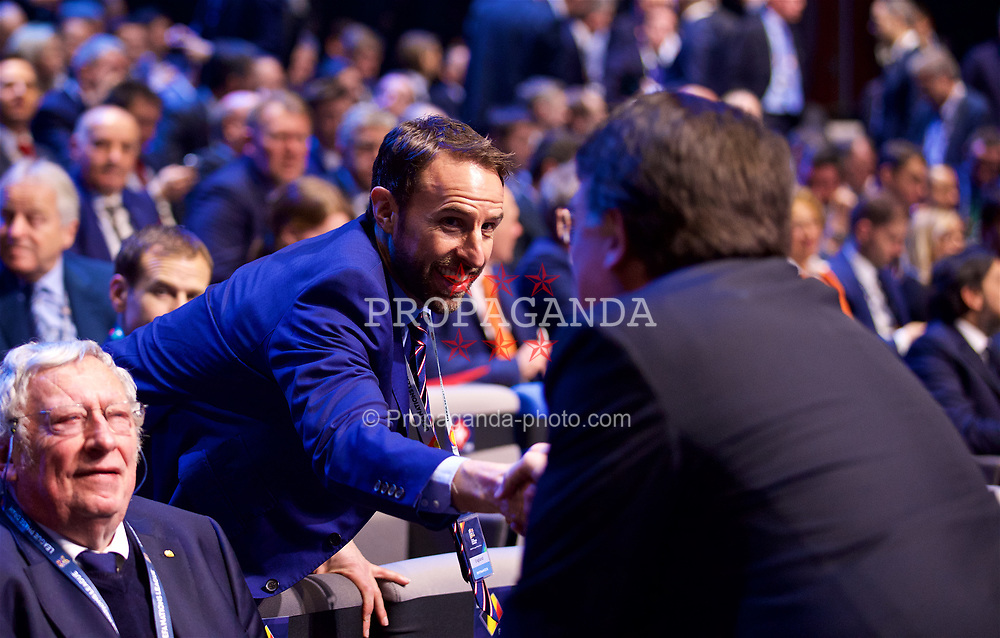 LAUSANNE, SWITZERLAND - Wednesday, January 24, 2018: England manager Gareth Southgate during the draw for the new UEFA Nations League tournament at the SwissTech Convention Centre. (Pic by David Rawcliffe/Propaganda)