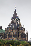 The Library of Parliament in Ottawa sits at the rear (north) of the Centre Block building on Parliament Hill in Ottawa, Ontario, Canada. The Library of Parliament is the only original part of the original Centre Block after it burned down in 1916.  The library clerk at the time had the presense of mind to close the large iron doors before the fire reached the library.