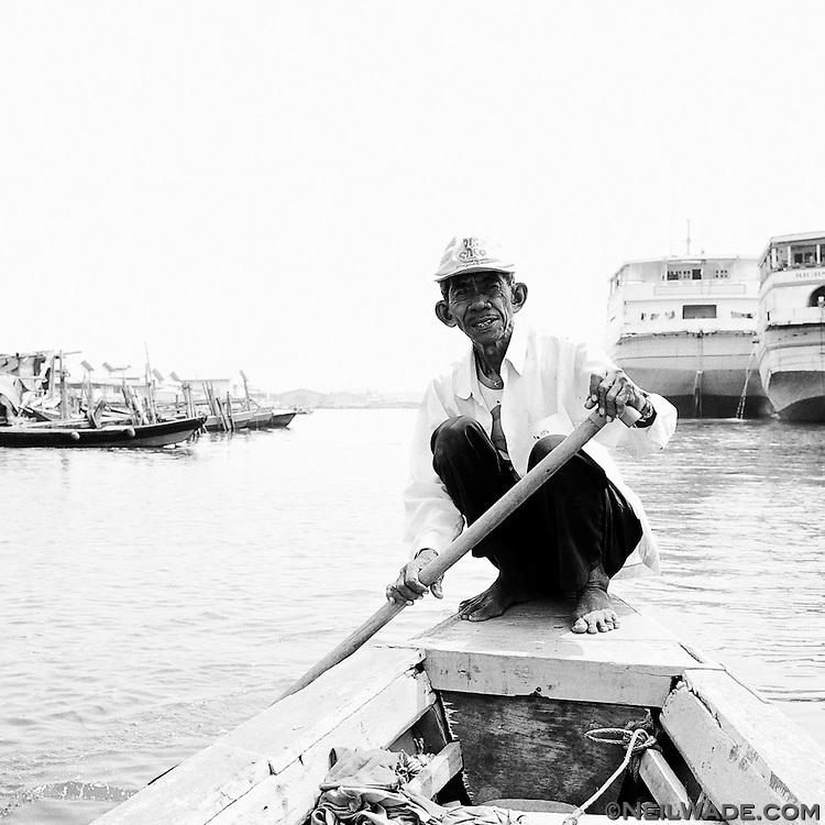 This man was giving boat tours of the waterfront at the Jakarta main harbor, Sunda Kelapa.