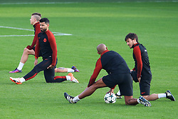 Sergio Aguero of Manchester City warms up with his team mates - Mandatory by-line: Matt McNulty/JMP - 31/10/2016 - FOOTBALL - City Football Academy - Manchester, England - Manchester City v Barcelona - UEFA Champions League - Group C