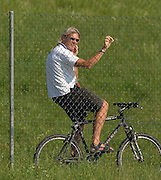 Munich, GERMANY, Swiss National Coach, Tim FOSTER, at the start of the coxed men's pairs, Sunday 26.08.2007, opening day on the  Munich Olympic Regatta Course, venue for 2007 World Rowing Championship, Bavaria. [Mandatory Credit. Peter Spurrier/Intersport Images]..... , Rowing Course, Olympic Regatta Rowing Course, Munich, GERMANY