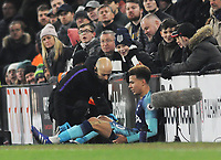 Football - 2018 / 2019 Premier League - Fulham vs. Tottenham Hotspur<br /> <br /> Injury for Dele Alli of Tottenham as he receives attention from the trainer to his thigh, at Craven Cottage.<br /> <br /> COLORSPORT/ANDREW COWIE