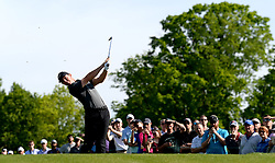 May 3, 2018 - Charlotte, NC, USA - Rory McIlroy follows through on his drive from the 17th tee during he first round of the Wells Fargo Championship at Quail Hollow Club in Charlotte, N.C., on Thursday, May 3, 2018. (Credit Image: © Jeff Siner/TNS via ZUMA Wire)