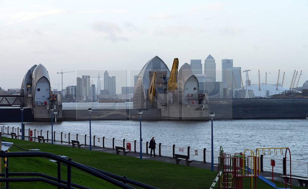 © Licensed to London News Pictures. 03/01/2014. Location, Country. The Thames barrier is closed to assist with flood relief. Photo credit : Mike King/LNP