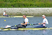 Reading. United Kingdom.  GBR M2-.  Bow. Alex GREGORY and Mo SBIHI, in the opening strokes of the morning time trial. 2014 Senior GB Rowing Trails, Redgrave and Pinsent Rowing Lake. Caversham.<br /> <br /> 11:04:52  Saturday  19/04/2014<br /> <br />  [Mandatory Credit: Peter Spurrier/Intersport<br /> Images]