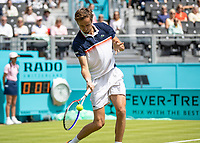 Tennis - 2019 Queen's Club Fever-Tree Championships - Day One, Monday<br /> <br /> Men's Singles, First Round: Fernando VERDASCO (ESP) vs Daniil MEDVEDEV (RUS) [4<br /> <br /> Daniil Medvedev (RUS) with a low forehand return on Centre Court.<br />  <br /> COLORSPORT/DANIEL BEARHAM