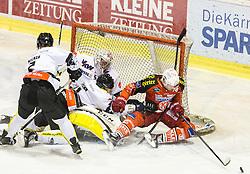 03.03.2015, Stadthalle, Klagenfurt, AUT, EBEL, EC KAC vs Dornbirner Eishockey Club, Qualifikationsrunde, im Bild Olivier Magnan (Dornbirner Eishockey Club, #2), Nathan Lawson (Dornbirner Eishockey Club, #52), Jamie Lundmark (EC KAC, #74), Jonathan D'Aversa (Dornbirner Eishockey Club, #) // during the Erste Bank Icehockey League qualification round match betweeen EC KAC and Dornbirner Eishockey Club at the City Hall in Klagenfurt, Austria on 2015/03/03. EXPA Pictures © 2015, PhotoCredit: EXPA/ Gert Steinthaler