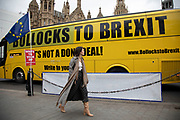 Anti Brexit pro Europe bus with the slogan Bollocks to Brexit in Westminster on the day of the 'meaningful vote' when MPs will back or reject the Prime Minister's Brexit Withdrawal Agreement on 15th January 2019 in London, England, United Kingdom.