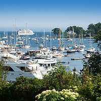Camden Harbor shown during the busy summer months.