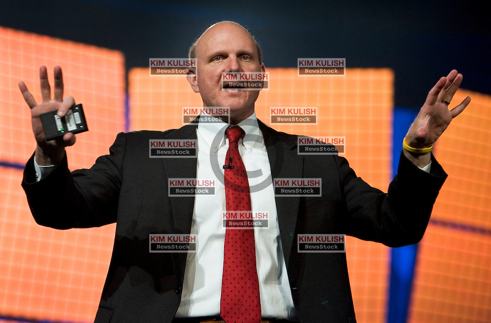 Microsoft CEO Steve Ballmer addresses developers, customers and the press at the launch of Microsoft SQL Server 2005 , Visual Studio 2005 and the upcoming release of BizTalk Server 2006 in San Francisco Nov. 7, 2005. The new versions of its popular software for helping companies house large amounts of data is one of the first in a series of product launches that the company is hoping will bolster its competitive edge.  Photo by Kim Kulish