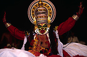 An actor plays the demon Ravana in a production of the epic, the Ramayana at the Kerala Kalamandalam<br /> The Kalamandalam was founded in 1930 to preserve the cultural traditions of Kathakali, the stylised dance drama of Kerala. Kathakali is the classical dance-drama of Kerala, South India, which dates from the 17th century and is rooted in Hindu mythology. Kathakali is a unique combination of literature, music, painting, acting and dance performed by actors wearing extensive make up and elaborate costume who perform plays which retell in dance form stories from the Hindu epics.