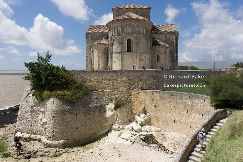 The church of St Radegonde in Talmont-sur-Gironde, Charente-Maritime, France. Built in 1094, the church was a resting place for the Pilgrimage of Saint James of Compostela on the via Turonensis, because the pilgrims crossed the river Gironde at this spot.