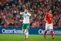 Northern Ireland's Oliver Norwood reacts after an early missed chance <br /> <br /> Photographer Craig Mercer/CameraSport<br /> <br /> 2018 FIFA World Cup play-off Round 2 - 2nd Round - Second leg - Switzerland v Northern Ireland - Sunday 12th November 2017 - St. Jakob-Park - Basel - Switzerland<br /> <br /> World Copyright © 2017 CameraSport. All rights reserved. 43 Linden Ave. Countesthorpe. Leicester. England. LE8 5PG - Tel: +44 (0) 116 277 4147 - admin@camerasport.com - www.camerasport.com