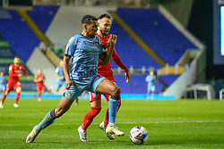 Sam McCallum of Coventry City (on loan from Norwich City) fends off the challenge of Birmingham City's Ivan Sanchez - Mandatory by-line: Nick Browning/JMP - 20/11/2020 - FOOTBALL - St Andrews - Birmingham, England - Coventry City v Birmingham City - Sky Bet Championship