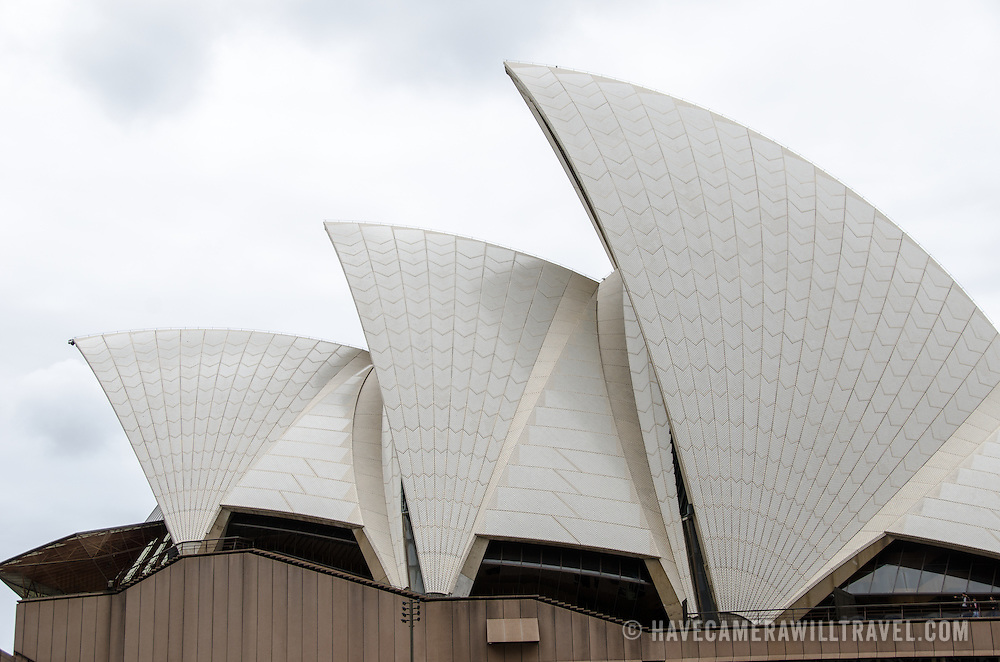 Side view of the sails of the roof of the Sydney Opera House, situated prominently in Sydney Harbour, Sydney, Australia.