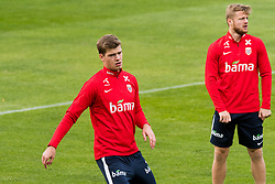 October 9, 2018 - LillestrØM, NORWAY - 181009 Alexander Sørloth and Fredrik Midtsjø of Norway during a training session on October 9, 2018 in Lillestrøm..Photo: Jon Olav Nesvold / BILDBYRÃ…N / kod JE / 160321 (Credit Image: © Jon Olav Nesvold/Bildbyran via ZUMA Press)