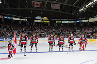 KELOWNA, CANADA - NOVEMBER 9: Team WHL lines up against the Team Russia on November 9, 2015 during game 1 of the Canada Russia Super Series at Prospera Place in Kelowna, British Columbia, Canada.  (Photo by Marissa Baecker/Western Hockey League)  *** Local Caption ***