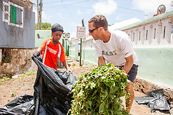 Junior Rodgers, left, and Jason Budsan finish cleaning up brush near the gut.  Residents and volunteers gather for the Garden Street neighborhood cleanup and block Party hosted by E's Garden and Things, Long Path/Garden Street Community Association, and the Economic Development Authority's Enterprise and Commerical Zone Commission.  St. Thomas, USVI.  5 September 2015.  © Aisha-Zakiya Boyd