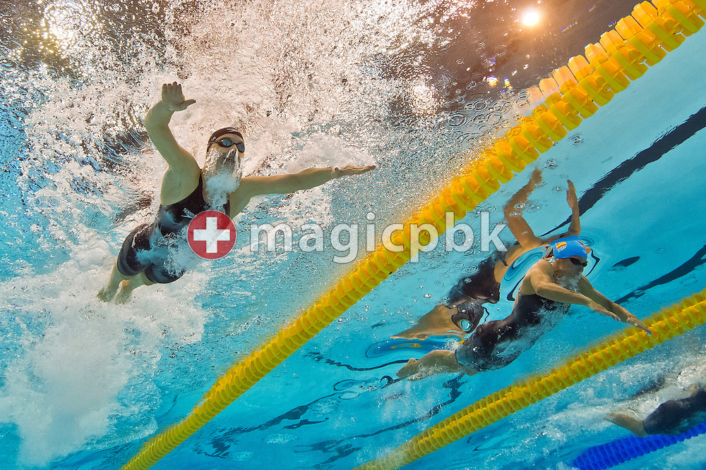 (L-R) Lisa ZAISER of Austria and Mireia Belmonte Garcia of Spain compete in the women's 200m Individual Medley (IM) Semifinal during the LEN European Swimming Championships at Europa-Sportpark in Berlin, Germany, Wednesday, Aug. 20, 2014. (Photo by Patrick B. Kraemer / MAGICPBK)