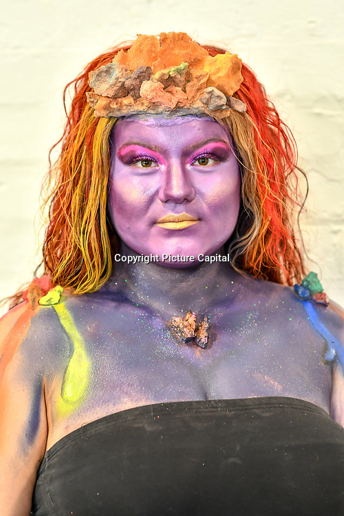 Kingston College by Artist Ashley Thomas-Doe  and Model/Artist Oben Seyer demo at IMATS on 18 May 2019,  London, UK.