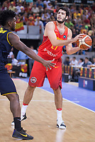 Spain's Alex Abrines and Venezuela's Pedro Chourio during friendly match for the preparation for Eurobasket 2017 between Spain and Venezuela at Madrid Arena in Madrid, Spain August 15, 2017. (ALTERPHOTOS/Borja B.Hojas)