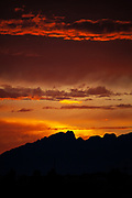 June sunset on the mountain of Montserrat, near Barcelona, Catalonia, Spain