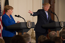 April 27, 2018 - Washington, DC, USA - German Chancellor Angela Merkel and U.S. President Donald Trump hold a press conference in the East Room of the White House. (Credit Image: © Michael Candelori via ZUMA Wire)