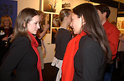 Enfys Roberts and Summer Nocon, The Affordable Art Fair private view ( in aid of Barnados) Battersea. 19 March 2003. © Copyright Photograph by Dafydd Jones 66 Stockwell Park Rd. London SW9 0DA Tel 020 7733 0108 www.dafjones.com