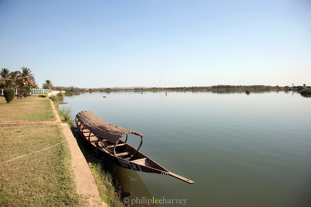 A boat moored on the banks of the Niger River, Bamako, Mali