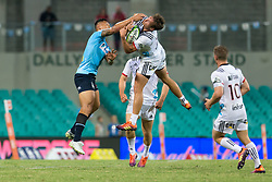 March 23, 2019 - Sydney, NSW, U.S. - SYDNEY, NSW - MARCH 23: Crusaders player David Havili (15) catches ball under pressure from Waratahs player Israel Folau (15) at round 6 of Super Rugby between NSW Waratahs and Crusaders on March 23, 2019 at The Sydney Cricket Ground, NSW. (Photo by Speed Media/Icon Sportswire) (Credit Image: © Speed Media/Icon SMI via ZUMA Press)