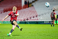 George Barton of Gloucester Rugby converts during the Gallagher Premiership Rugby match between Gloucester Rugby and Exeter Chiefs at the Kingsholm Stadium, Gloucester, United Kingdom on 26 March 2021.