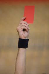Sodniski znak za diskvalifikacijo (rdeci karton), 10. aprila 2009, v dvorani Zlatorog, Celje, Slovenija. (Photo by Vid Ponikvar / Sportida)