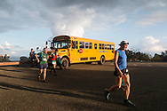 High Point, New Jersey - Runners get off the bus before the start of the Shawangunk Ridge Trail Run/Hike 70-mile race at High Point State Park on Sept. 15, 2017.