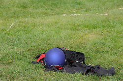 ©  licensed to London News Pictures .26/04/2011.  Detling, UK . A helmet lying on the ground at the scene where a man died performing a human cannonball stunt. Spectators watched the safety net fail on The Human Cannon at  Scott May's Daredevil Stunt Show at Kent County Show Ground. See special instructions. Picture credit should read Grant Falvey/LNP.
