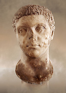 Roman sculpture of the Emperor Caracalla, excavated from Thuburbo-Majus, sculpted circa 211-217AD. The Bardo National Museum, Tunis, Inv No: C. 1347 .<br /> <br /> If you prefer to buy from our ALAMY STOCK LIBRARY page at https://www.alamy.com/portfolio/paul-williams-funkystock/greco-roman-sculptures.html . Type -    BARDO    - into LOWER SEARCH WITHIN GALLERY box - Refine search by adding a subject, place, background colour, museum etc.<br /> <br /> Visit our CLASSICAL WORLD HISTORIC SITES PHOTO COLLECTIONS for more photos to download or buy as wall art prints https://funkystock.photoshelter.com/gallery-collection/The-Romans-Art-Artefacts-Antiquities-Historic-Sites-Pictures-Images/C0000r2uLJJo9_s0c