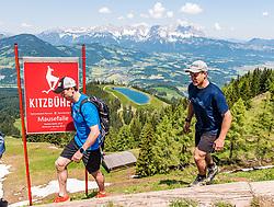 05.06.2019, Streif, Kitzbühel, AUT, FIS Weltcup Ski Alpin, im Bild v.l. Hannes Reichelt, Otmar Striedinger // v.l. Hannes Reichelt, Otmar Striedinger during a media Event of the Austrian Ski Association (ÖSV) at the Streif in Kitzbühel, Austria on 2019/06/05. EXPA Pictures © 2019, PhotoCredit: EXPA/ Stefan Adelsberger