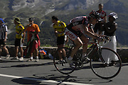 FRANCE 25th JULY 2007: Images from Stage 16 Orthez to Gorette - Col d'Aubisque. Cadel Evans within 2.5km of the finish at the top of the Col d'Aubisque.