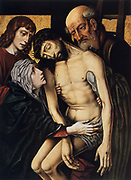 Descent from the Cross', c1430.  Oil on wood. Rogier van der Weyden (1399/1400-1464) Early Netherlandish painter.   Body of the dead Christ taken down from cross. Crown Thorns Stigmata Execution Crucifixioin