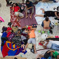 Migrants sleep on the floor at San Francisco Church in Huixtla, Chiapas