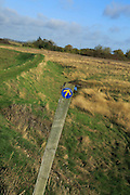 Suffolk Coast path sign footpath through marshland, near Shingle Street, Suffolk, England, UK