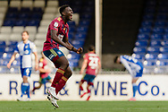 Ipswich Town defender Aristote Nsiala (22) celebrates a Ipswich goal by Ipswich Town midfielder Gwion Edwards (7)  during the EFL Sky Bet League 1 match between Bristol Rovers and Ipswich Town at the Memorial Stadium, Bristol, England on 19 September 2020.