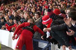 Aberdeen Niall McGinn is mobbed by fans after the Betfred Cup semi final match at Hampden Park, Glasgow.