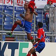 Costa Rica's Mauricio Wright celebrates scoring Costa Rica's second goal