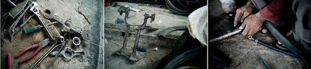 Bike repair shop, Pokhara, Nepal.
