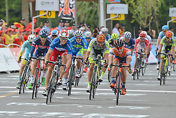 September 16, 2016 - Wuhan, China - Italian Marco Benfatto (Blue Jersey - Left) from Androni-Giocattoli Team on his way to win the final sixth stage, 99.6km Wuhan Xinzhou Circuit race, of the 2016 Tour of China 1..On Friday, 16 September 2016, in Xinzhou, Wuhan , China. (Credit Image: © Artur Widak/NurPhoto via ZUMA Press)